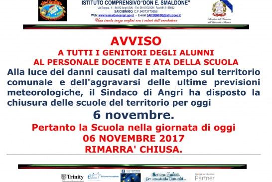 Chiusura Scuola 06 novembre 2017