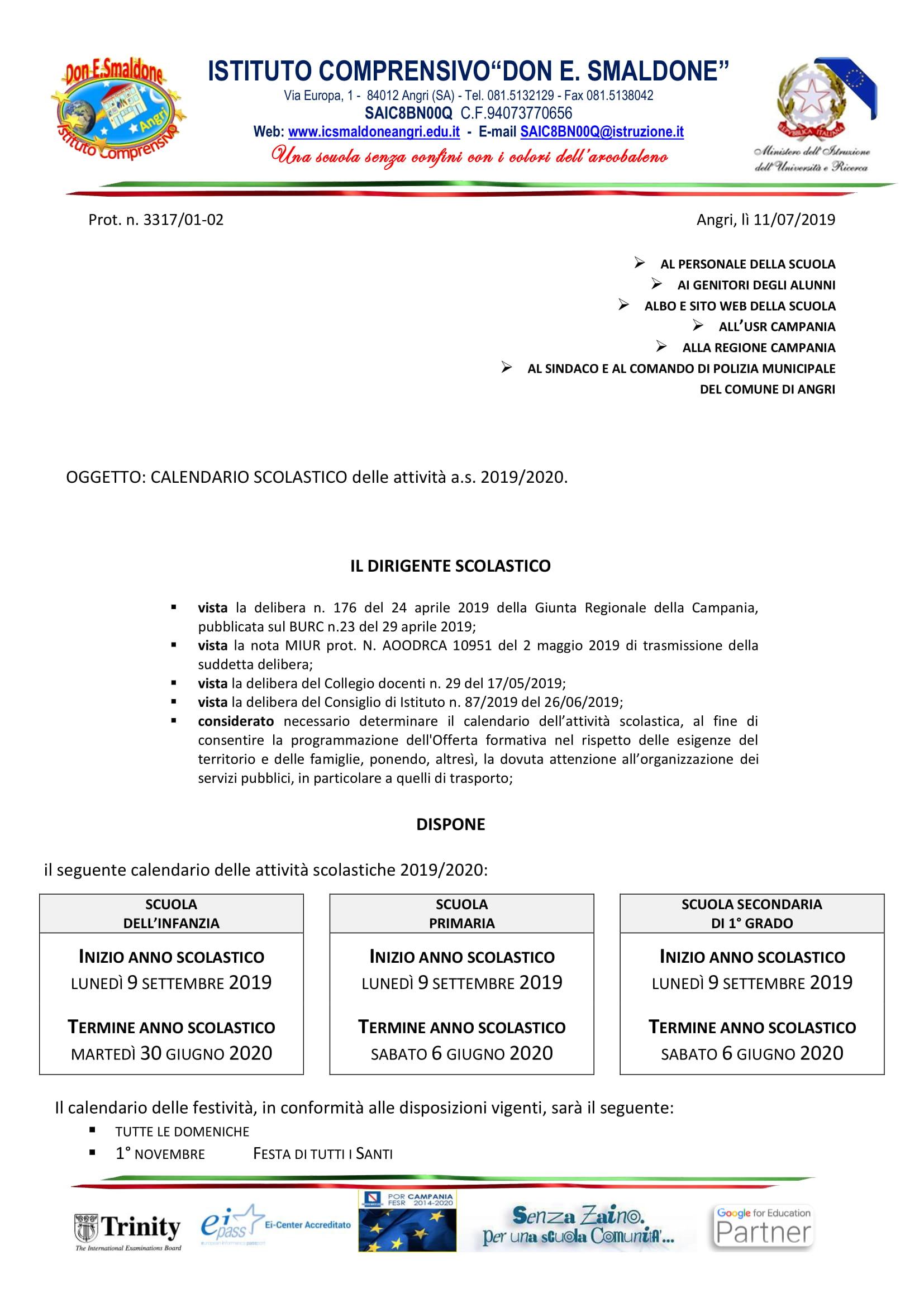 Novembre 2020 Calendario.Calendario Scolastico 2019 2020 Istituto Comprensivo Don