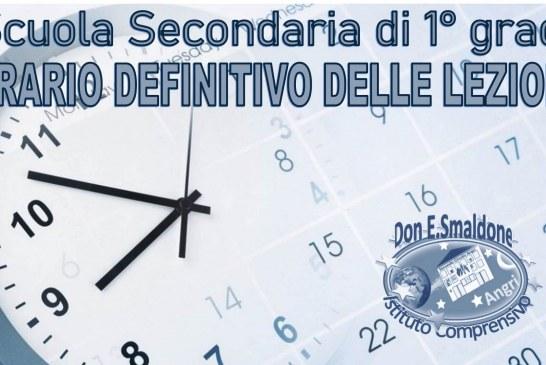 Orario definitivo SCUOLA SECONDARIA 1° GRADO