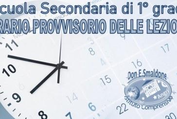Orario provvisorio SCUOLA SECONDARIA 1° GRADO