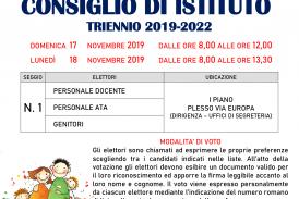 Elezioni per il rinnovo del Consiglio di Istituto triennio 2019-2022