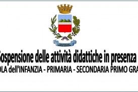 Ordinanza Sindacale – Sospensione delle attività didattiche in presenza dal 15 al 28 febbraio