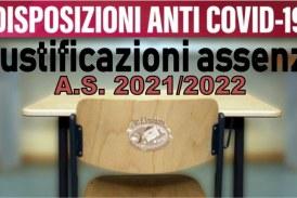 Disposizioni giustificazione assenze scolastiche emergenza Covid-19 2021-2022