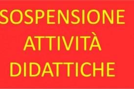 Sospensione delle attività didattiche dal 16 ottobre 2020 fino a tutto il 30 ottobre 2020