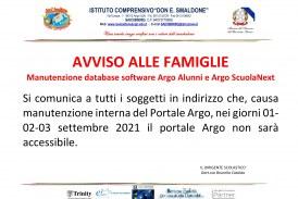 Manutenzione database software Argo Alunni e Argo ScuolaNext